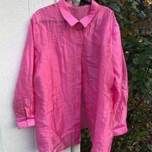 crinkly hot pink blouse a great swimsuit coverup.